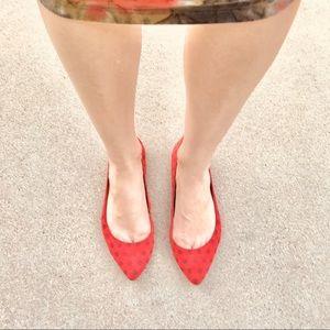 GAP red suede flats polka dot print gray dots 8.5